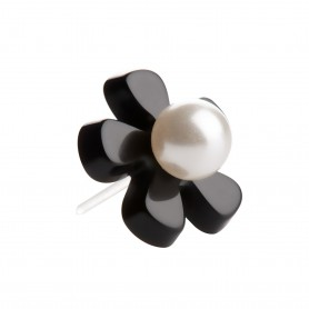 Medium size flower shape Metal free earring in Black