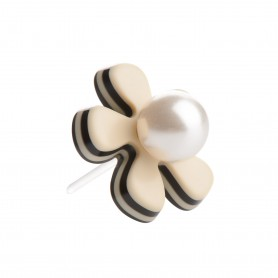 Medium size flower shape Metal free earring in Ivory and black