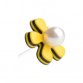 Medium size flower shape Metal free earring in Yellow and black