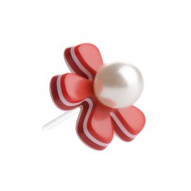 Medium size flower shape Metal free earring in Marlboro red and white