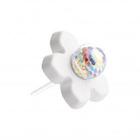 Medium size flower shape Metal free earring in White