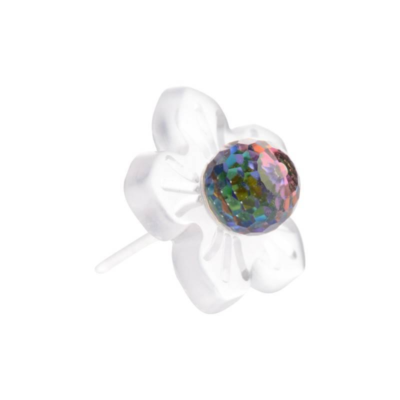"Healthy fashion earring (1 pcs.) ""Vitral deep Flower"""