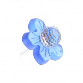 Medium size flower shape Metal free earring in Transparent blue