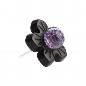 Medium size flower shape Metal free earring in Black