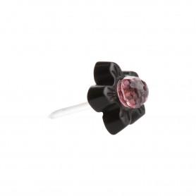 Small size flower shape Metal free earring in Black