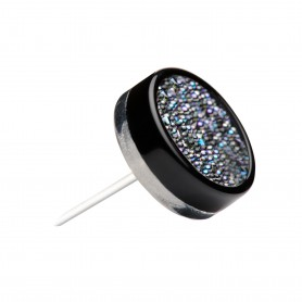 Medium size round shape Metal free earring in Black