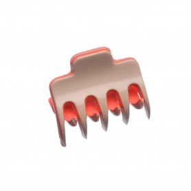 Very small size regular shape Hair claw clip in Hazel and coral