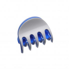 Very small size regular shape Hair claw clip in Light grey and fluo electric blue