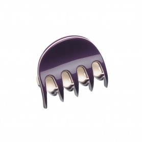 Very small size regular shape Hair claw clip in Violet and ivory