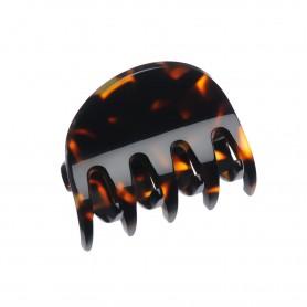 Small size regular shape Hair jaw clip in Dark brown demi