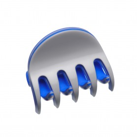 Small size regular shape Hair jaw clip in Light grey and fluo electric blue