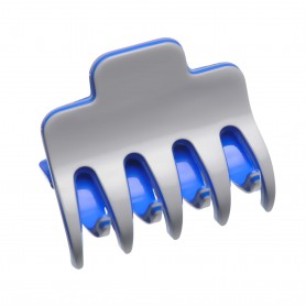 Medium size regular shape Hair jaw clip in Light grey and fluo electric blue