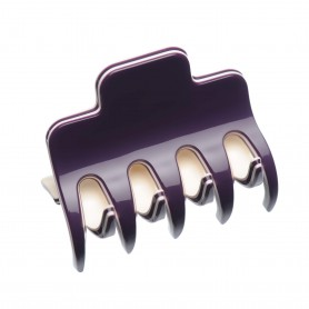 Medium size regular shape Hair jaw clip in Violet and ivory