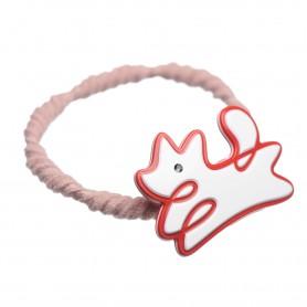 Medium size dog shape Hair elastic with decoration in White and marlboro red