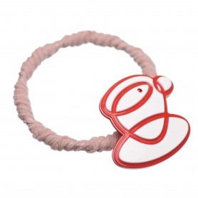 Medium size special ornament Hair elastic with decoration in White and marlboro red