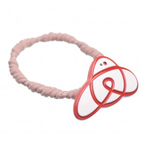 Medium size animal shape Hair elastic with decoration in White and marlboro red
