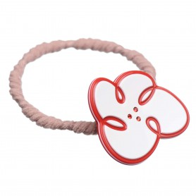 Medium size flower shape Hair elastic with decoration in White and marlboro red
