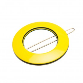 Small size round shape Hair clip in Yellow and black