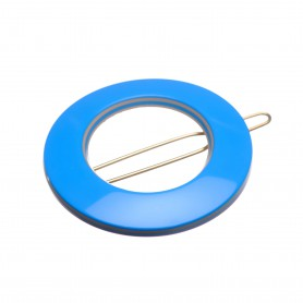 Small size round shape Hair clip in Blue and hazel
