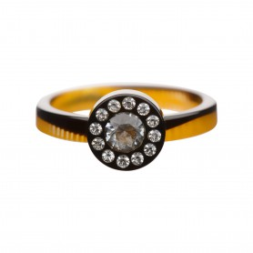 Medium size round shape Metal free ring in Black and gold texture