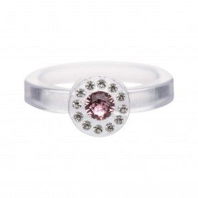 Medium size round shape Metal free ring in Crystal