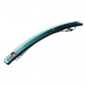 Medium size long and skinny shape Hair barrette in Transparent green