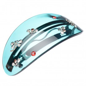 Extra large size oval shape Hair barrette in Transparent green