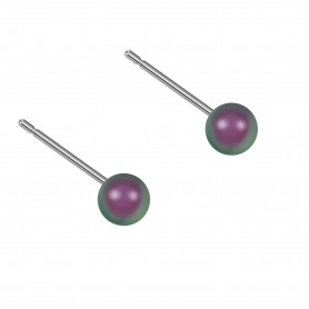 Very small size sphere shape Titanium earrings in Crystal Iridescent Purple Pearl