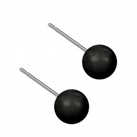 Medium size sphere shape Titanium earrings in Crystal Mystic Black Pearl