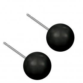 Large size sphere shape Titanium earrings in Crystal Mystic Black Pearl
