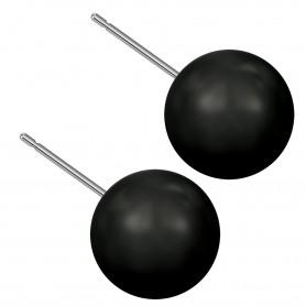 Very large size sphere shape Titanium earrings in Crystal Mystic Black Pearl