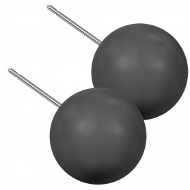Extra large size sphere shape Titanium earrings in Crystal Black Pearl