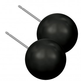 Extra large size sphere shape Titanium earrings in Crystal Mystic Black Pearl