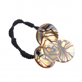 Medium size flower shape hair elastic with decoration in Onyx