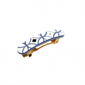 Small size rectangular shape hair clip in White and Blue Kosmart - 1