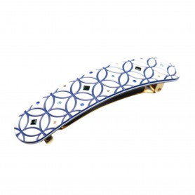 Medium size rectangular shape hair barrette in White and Blue Kosmart - 1