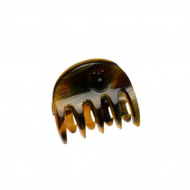 Very small size regular shape hair claw clip in Black and Gold texture