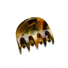 Small size regular shape hair jaw clip in Black and Gold texture