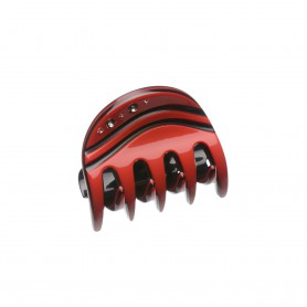 Very small size regular shape hair claw clip in Red and Black