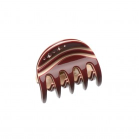Very small size regular shape hair claw clip in Bordeaux and Nude