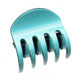 Medium size regular shape hair jaw clip in Turquoise and Black