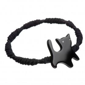 Medium size cat shape hair elastic with decoration in Black