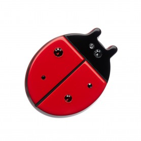 Small size ladybird shape brooch in Malboro red and black