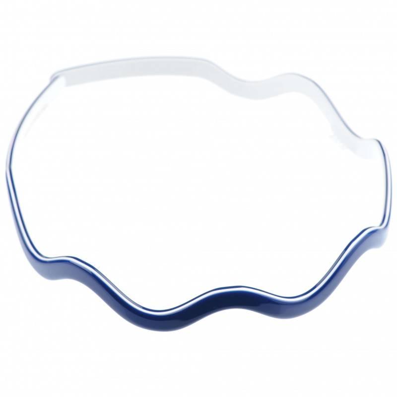 Medium size special ornament Headband in Blue and white shiny finish