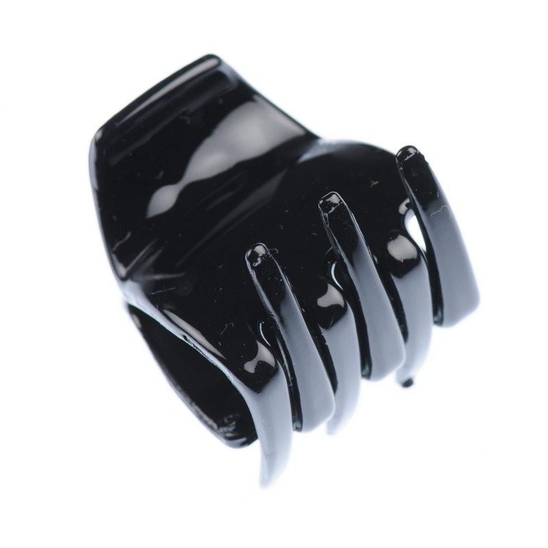 Small size regular shape Hair jaw clip in Black shiny finish