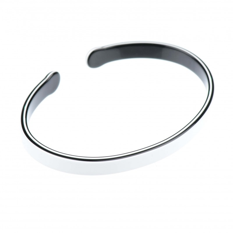 Medium size oval shape Bracelet in White and black shiny finish
