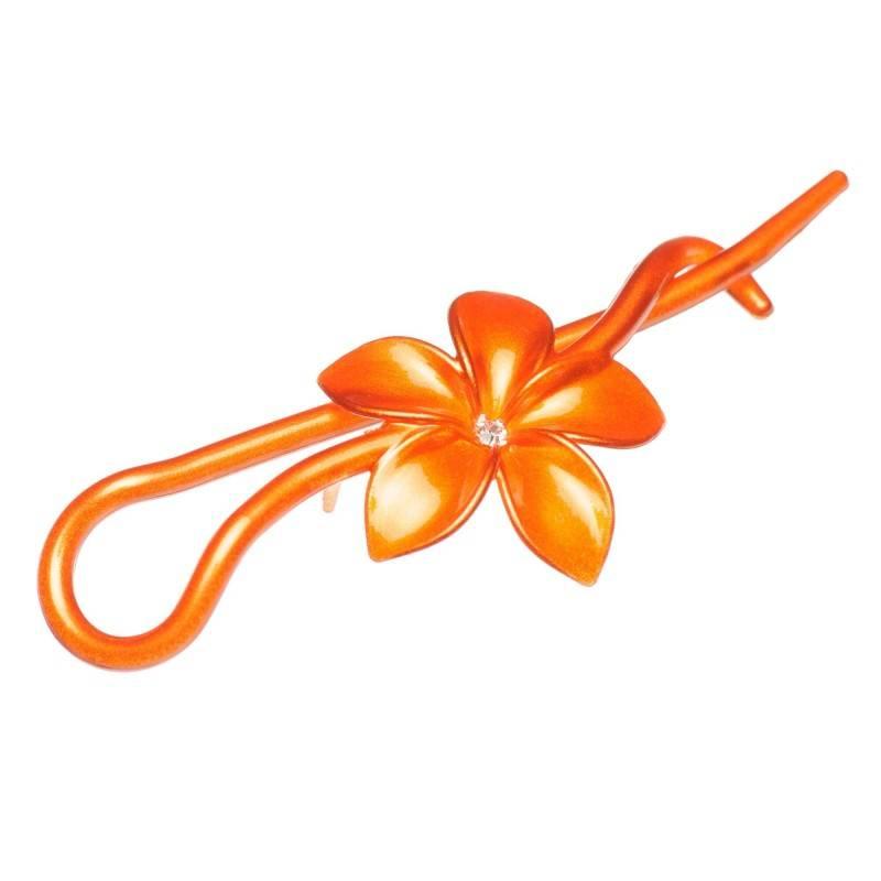 Medium size flower shape Hair pin in Mixed colour texture shiny finish