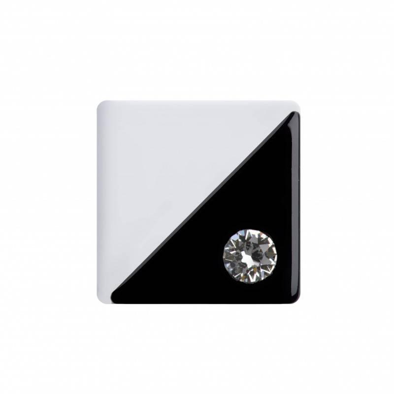 Medium size square shape Metal free earring in Black and white shiny finish