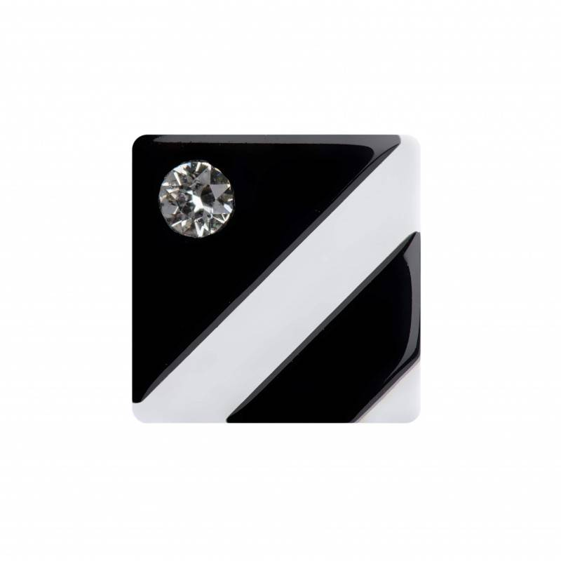 Medium size square shape Metal free earring in Black and white shiny finish