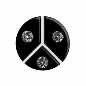 Medium size round shape Metal free earring in Black and white